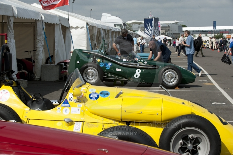 'Toothpaste Tube' 1957 Connaught C type of Michael Steele and the yellow Connaught A4 of David Wenman in the paddock at Silverstone Classic 2010