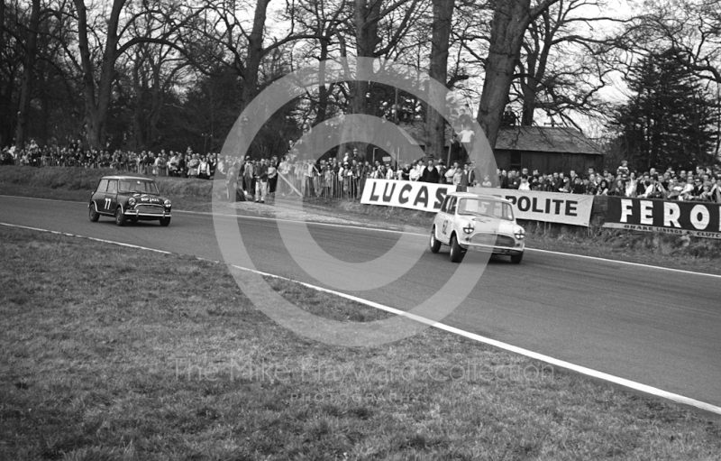 Michael Campbell-Cole, Don Moore 995 Mini Cooper S, leads John Fitzpatrick, Broadspeed Mini Cooper S (BOP 242C), into Old Hall Corner, Oulton Park, Spring Race Meeting 1965.