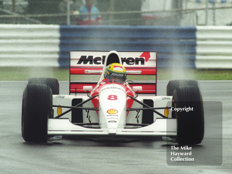Ayrton Senna, McLaren MP4-8, seen during wet qualifying at Silverstone for the 1993 British Grand Prix.