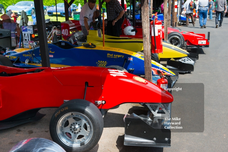 1600-2000cc cars in the paddock, Shelsley Walsh Hill Climb, June 1st 2014.