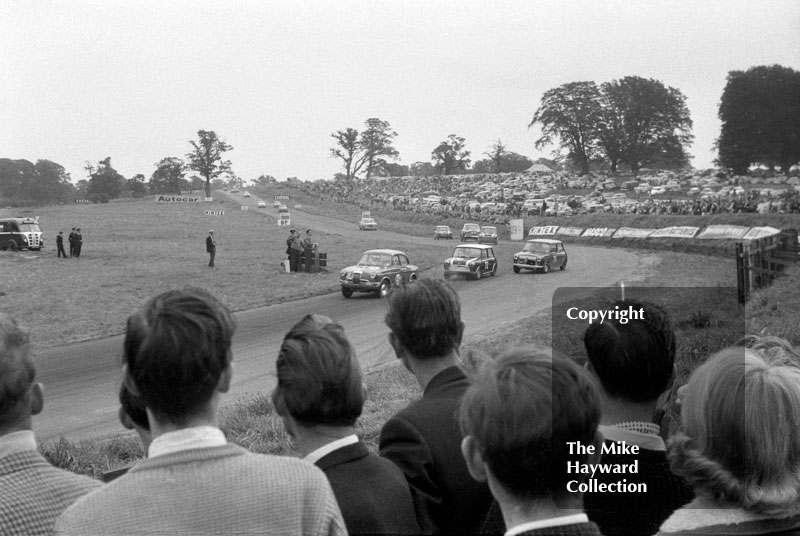 Alan Hutcheson leads John Love, Oulton Park, 1962 Gold Cup meeting.