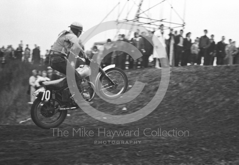 Powering up the hill, motorcycle scramble at Spout Farm, Malinslee, Telford, Shropshire between 1962-1965