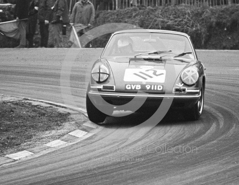 Nick Faure, Demetriou Group Porsche 911 (GVB 911D), Brands Hatch, Race of Champions meeting 1969.