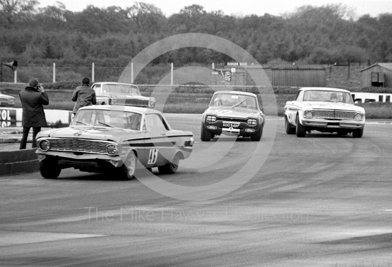 Roy Pierpoint, W J Shaw Ford Falcon Sprint, and Frank Gardner, Alan Mann Ford Escort, Silverstone Martini International Trophy meeting 1969.