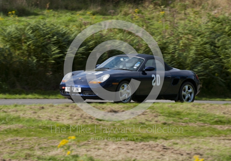 Sean Toms, Porsche Boxster, Hagley and District Light Car Club meeting, Loton Park Hill Climb, September 2013.