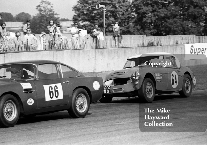 Denis Welch, Austin Healey 100/6, chases John Goate, Aston Martin DB4, Historic Championships Meeting, Donington Park, 1983.