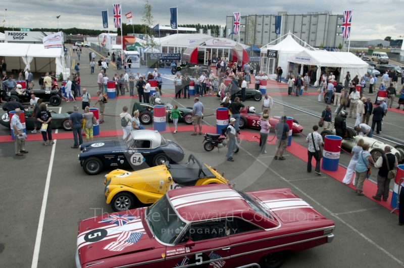 Scene in the paddock at Silverstone Classic 2010
