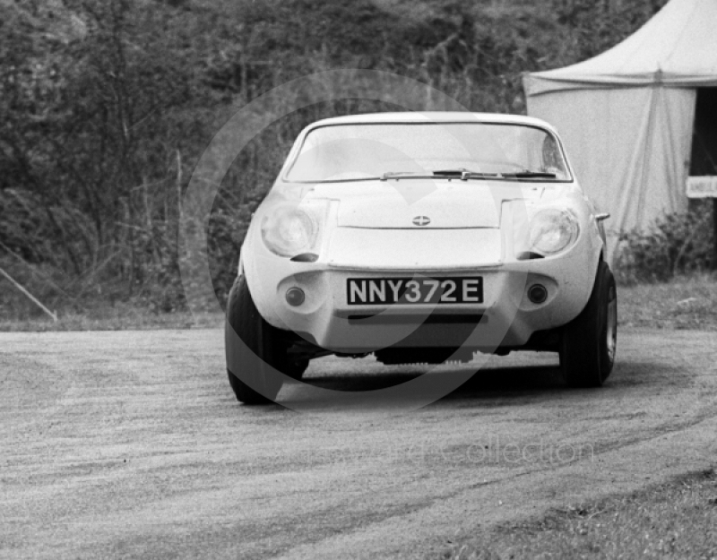 L Evans, Mini Marcos Arden 998cc, reg no NNY 372E, Newton Oil Trophy Meeting, Prescott Hill Climb, September 1967.
