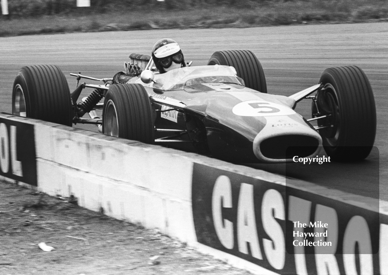 Jim Clark, Lotus 49 R2, at Copse Corner, Silverstone, on his way to winning the 1967 British Grand Prix.