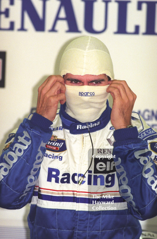 Damon Hill in the pit garage during practice, Silverstone, British Grand Prix 1996.
