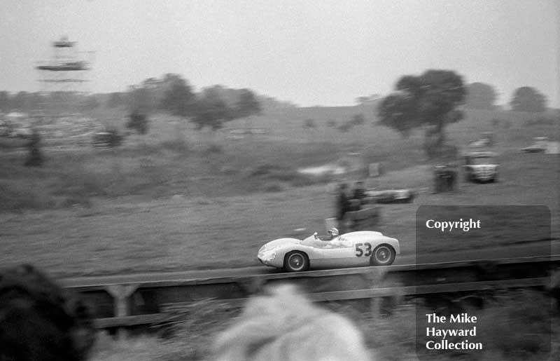 Innes Ireland, UDT Lotus 19 Monte Carlo, 1962 Oulton Park Gold Cup. Ireland won the sports car race a full minute ahead of Jim Clark.