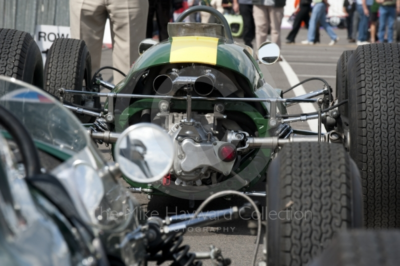 Rear view of a Lotus 25 in the paddock, Silverstone Classic 2010