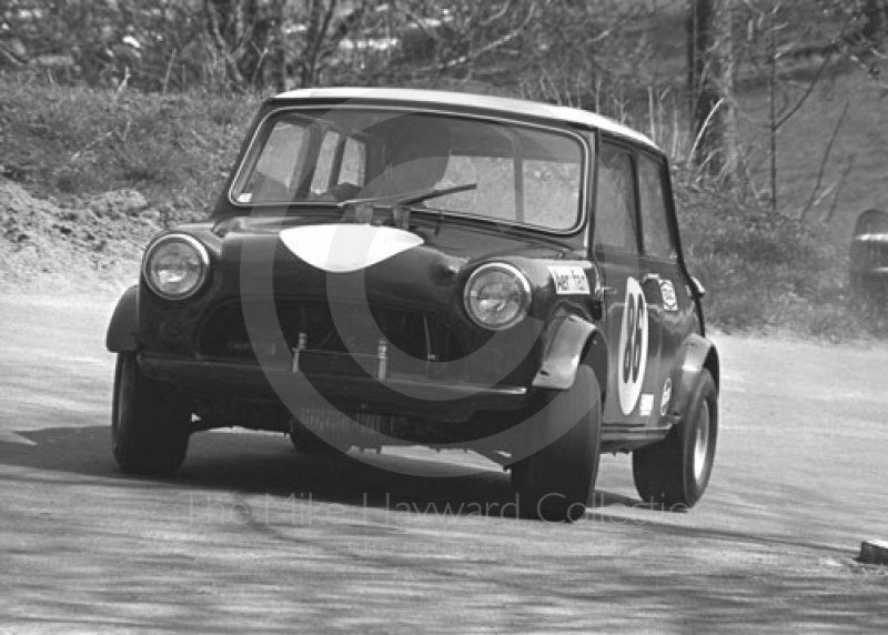 John Davies, Mini Cooper S, 39th National Open meeting, Prescott Hill Climb, 1970.