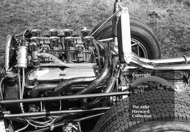 Jock Russell's Lotus 43 V8 engine, Guards F5000 Championship round, Oulton Park, April 1969.