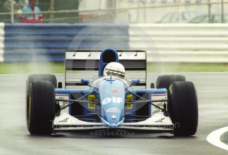 Martin Brundle, Ligier Renault JS39, seen during wet qualifying at Silverstone for the 1993 British Grand Prix.