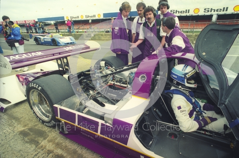 Alain Ferte, Jaguar XJR-11 in the pits, Shell BDRC Empire Trophy, Round 3 of the World Sports Prototype Championship, Silverstone, 1990.