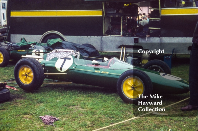 Lotus 25 F1 car in the paddock, 1962 Gold Cup, Oulton Park.