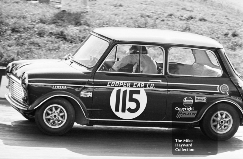 John Rhodes in familiar pose at the hairpin with a works Mini Cooper S, Mallory Park, BRSCC 4000 Guineas 1968.