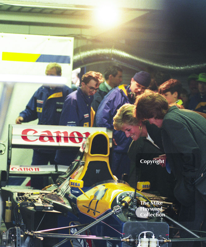 The Princess of Wales enjoys looking into a Williams cockpit, Donington Park, European Grand Prix 1993.