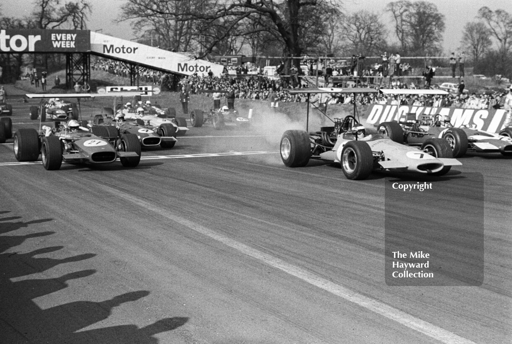 Peter Gethin, Church Farm Racing McLaren M10A/1 Chevrolet V8, winner of the Guards F5000 Championship round, Oulton Park, April 1969, leads off the grid.