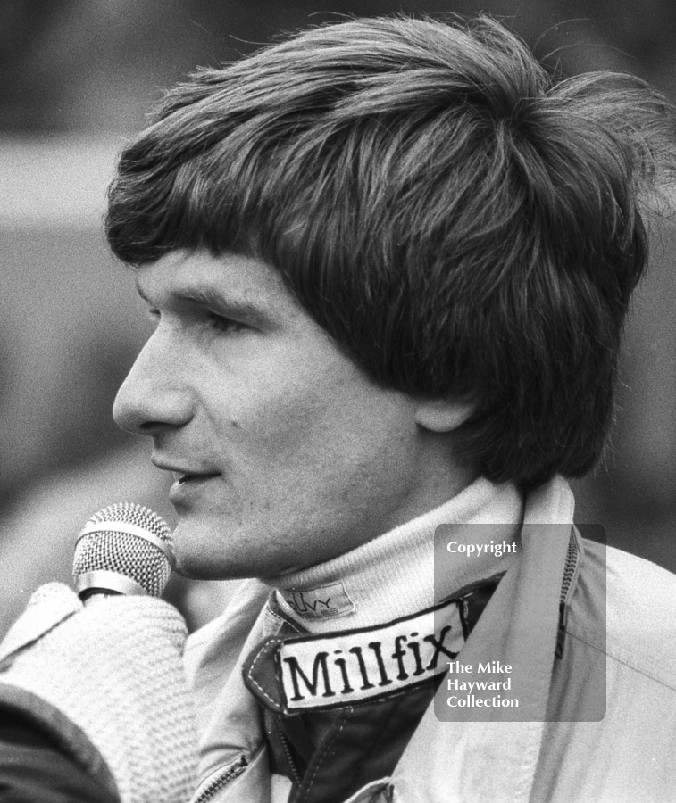 Thierry Boutsen being interviewed on the grid, World Endurance Championship, 1985 Grand Prix International 1000km meeting, Silverstone.