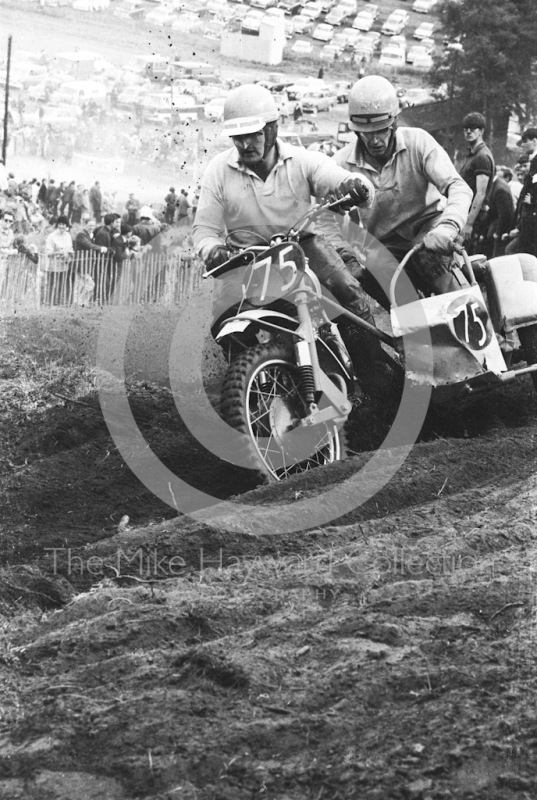Sidecar on the hill, 1966 motocross meeting, Hawkstone.