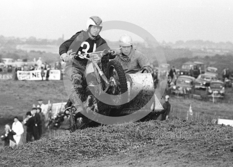 Airborne sidecar, motorcycle scramble at Spout Farm, Malinslee, Telford, Shropshire between 1962-1965