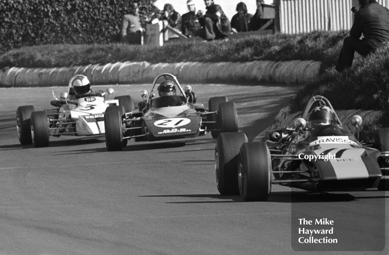 Barrie Maskell, Travisco Racing Lotus 69, Andy Sutcliffe, GRS GRD 372, and Roger Williamson, Wheatcroft Racing March 723, Mallory Park, Forward Trust 1972.