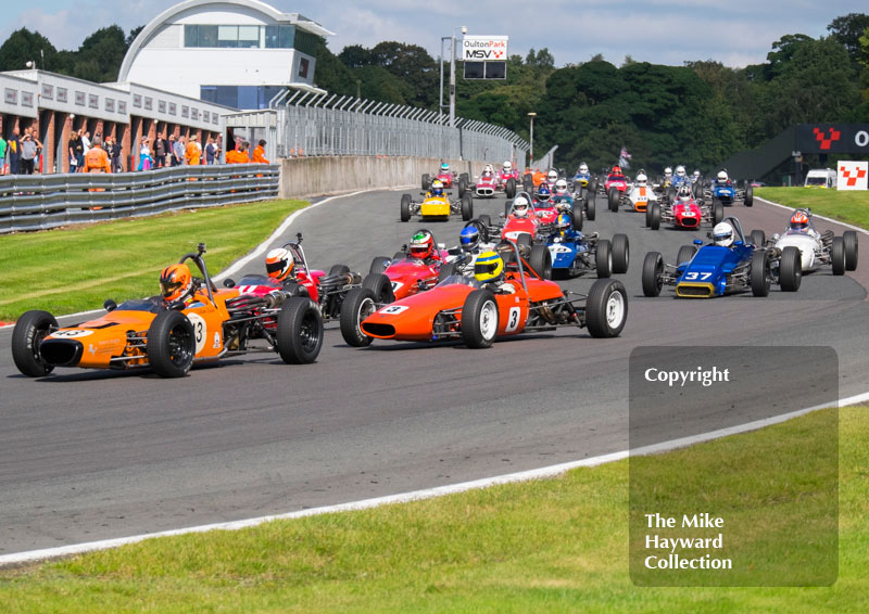 Callum Grant, Merlyn Mk 20, leads Formula Ford cars into Old Hall, 2016 Gold Cup, Oulton Park.