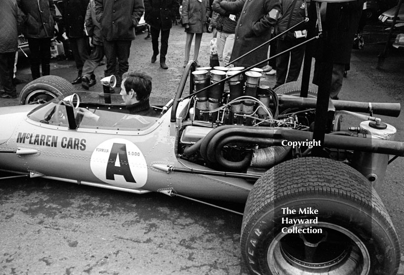 F5000 McLaren in the paddock at Brands Hatch, 1969 Race of Champions.