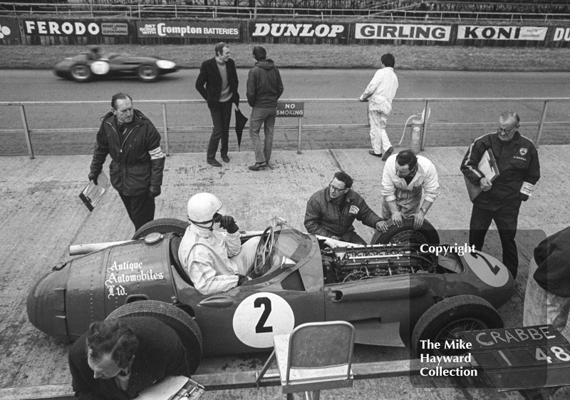 Colin Crabbe makes a pit stop in his Antique Automobiles Maserati, historic race, International Trophy meeting, Silverstone, 1969.