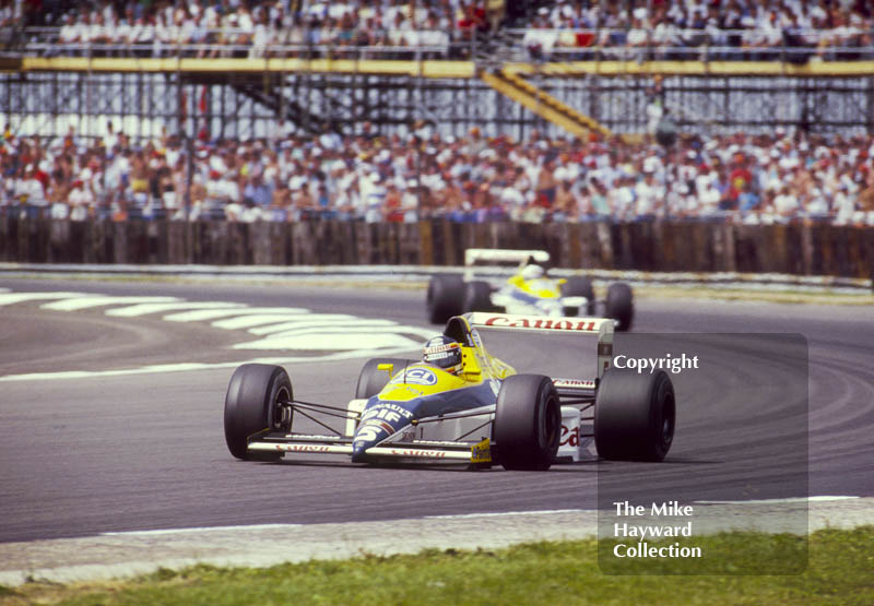 Thierry Boutsen, Riccardo Patrese, both in a Williams FW12C, Renault V10, British Grand Prix, Silverstone, 1987.