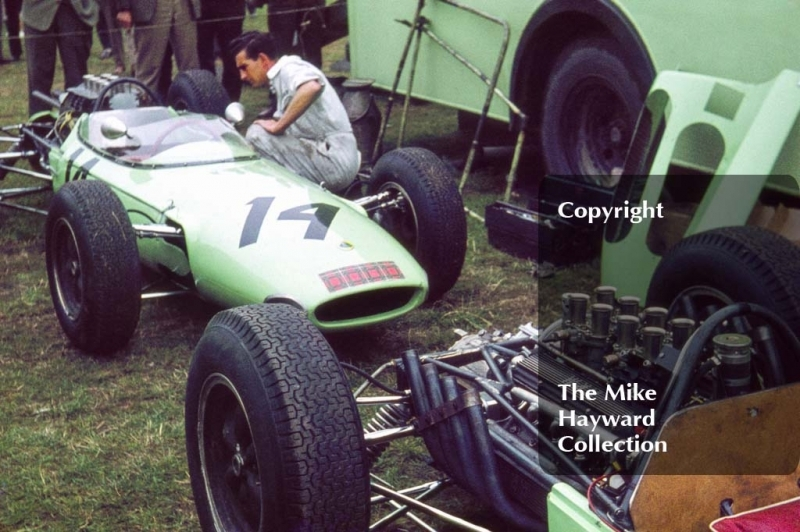 UDT Lotus Climax and Lotus BRM in the paddock, 1962 Gold Cup, Oulton Park.