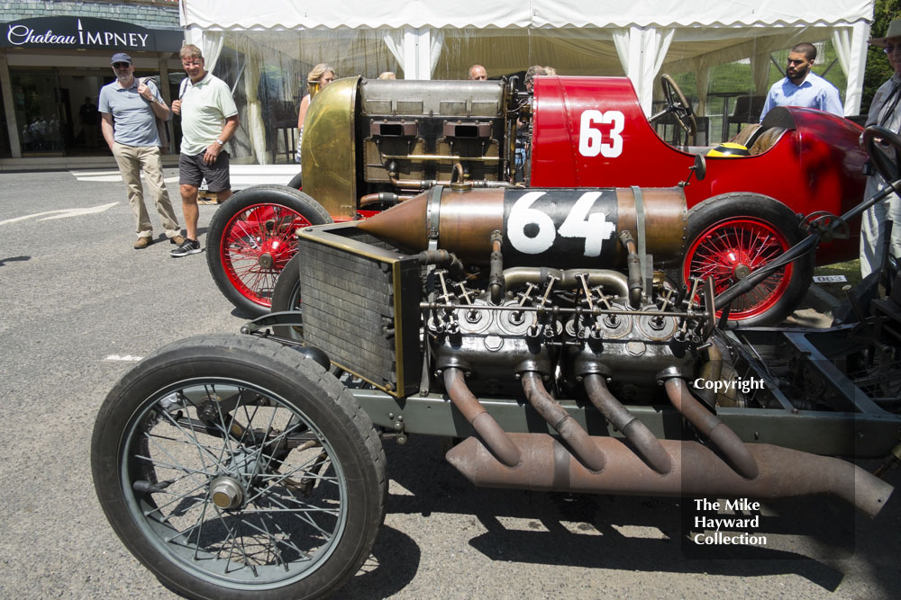 Mike Walker's 1905 Darracq land speed record car parked next to the Beast of Turin, Chateau Impney Hill Climb 2015.
