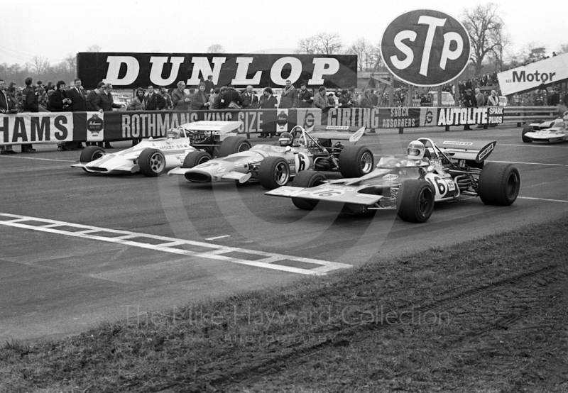 Pedro Rodriguez, Yardley BRM P160, leads off the line from Peter Gethin, McLaren M14A, and Jackie Stewart, Tyrrell 001, Oulton Park Rothmans International Trophy, 1971