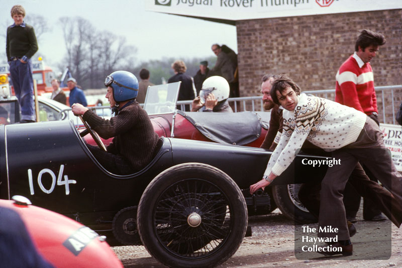 N Arnold-Forster, 1912 Bugatti in the paddock, VSCC meeting, May 1979, Donington Park.