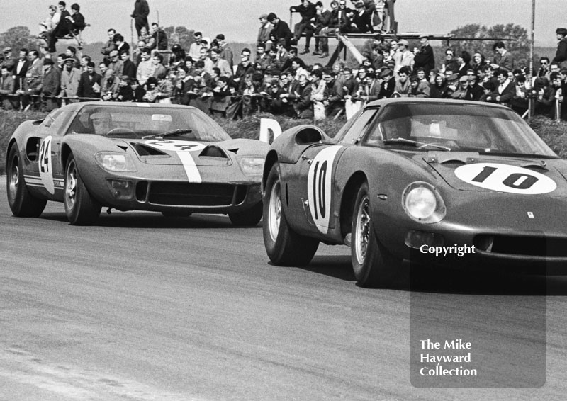 Bob Bonderant, David Piper Racing Ferrari 250LM, and Eric Liddell, Ford GT40, Silverstone International Trophy meeting 1966.
