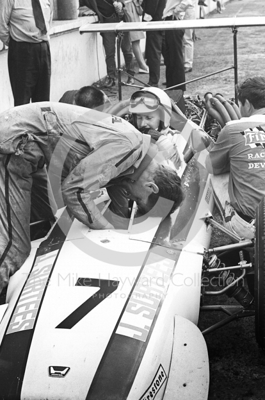 John Surtees, Honda RA301 V12, in the pits, British Grand Prix, Brands Hatch, 1968