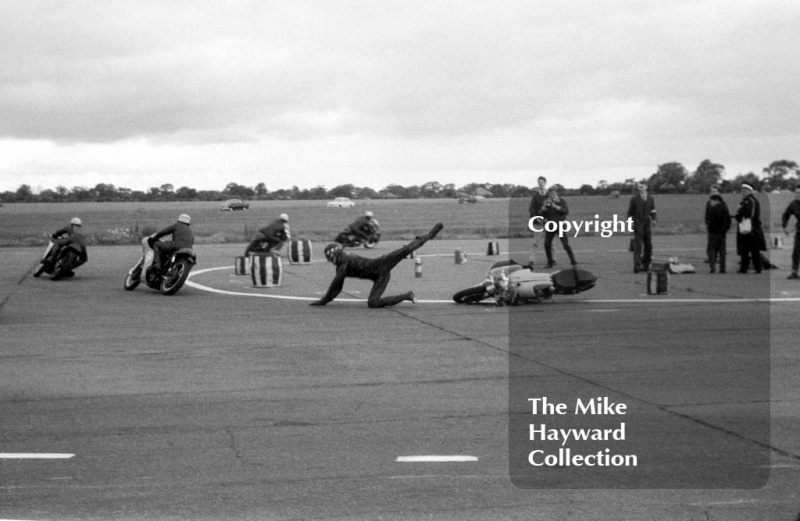 Motorcycle action, 1963, Perton Airfield, South Staffordshire.