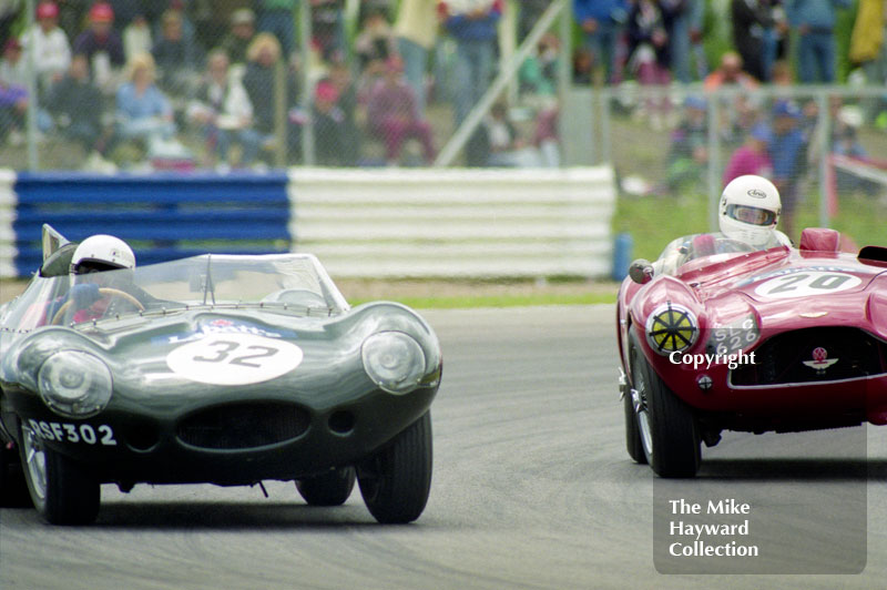 D-Type Jaguar (RSF 302) and Jeffrey Pattinson, Aston Martin, (SLC 626), 1993 Labatts World Endurance 1950's Sports Car Race, 1993 British Grand Prix, Silverstone.