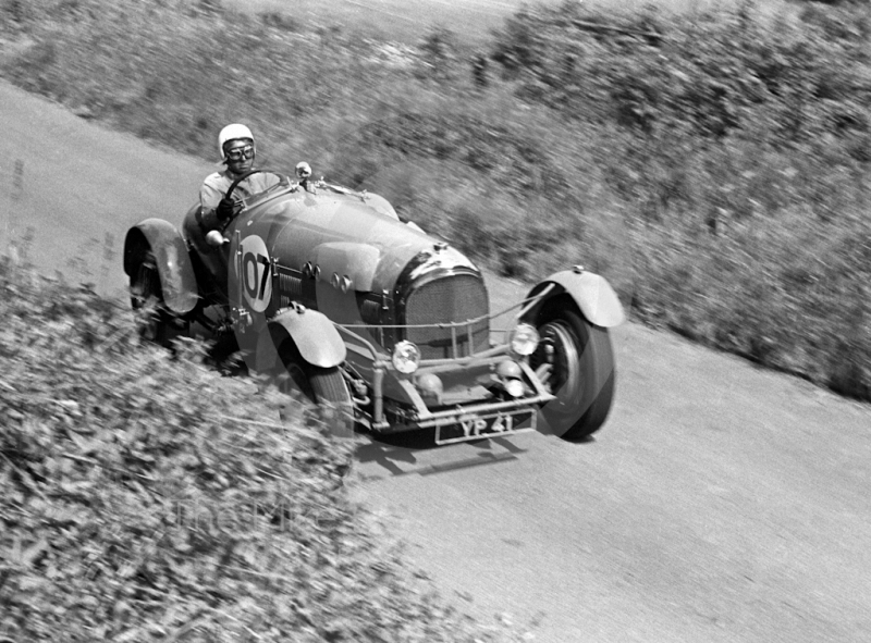 Bentley at speed, YP 41, Shelsley Walsh Hill Climb June 1970.