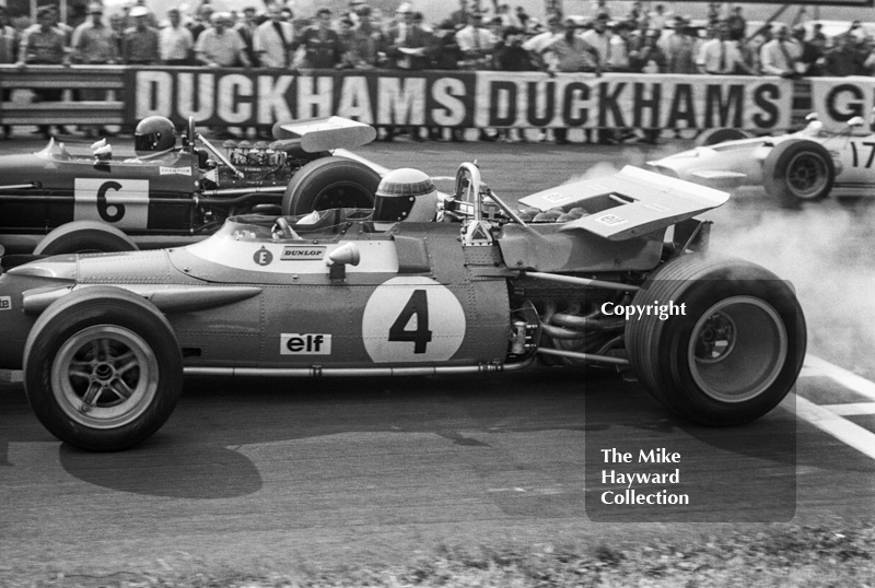 Jackie Stewart, Matra MS80, and Jacky Ickx, Brabham BT26, Oulton Park Gold Cup 1969.