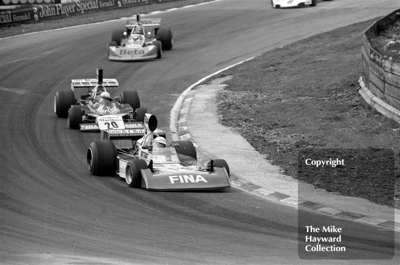Jochen Mass, Surtees TS16, leads Arturo Merzario, ISO-Marlboro FW03, and Vittorio Brambilla, March 741, Brands Hatch, British Grand Prix 1974.