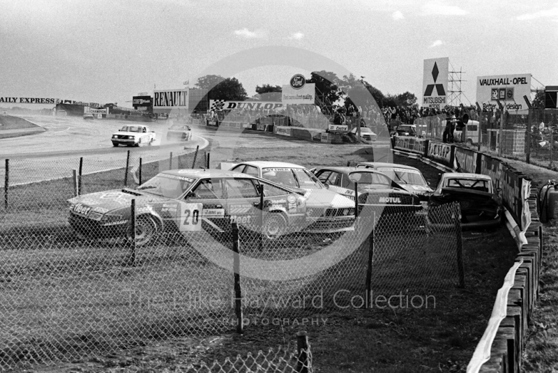 A very expensive car park at Woodcote Corner, Istel Tourist Trophy, European Touring Car Championship, Silverstone, 1984