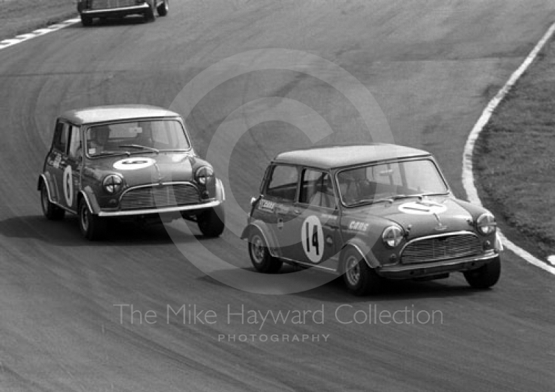 Tony Youlten, Cars and Car Conversions Mini Cooper S, and Gordon Spice, Equipe Arden Mini Cooper S, at Bottom Bend, British Saloon Car Championship race, 1968 Grand Prix meeting, Brands Hatch.
