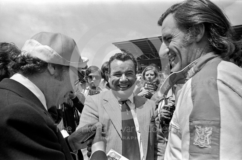 Eric Morecambe and Graham Hill, Brands Hatch, British Grand Prix 1974.