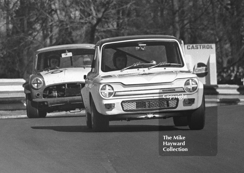 Jeff Ward, Hillman Imp, and Peter Baldwin, Mini, Forward Trust Special Saloon Car Race, Mallory Park, 1972.