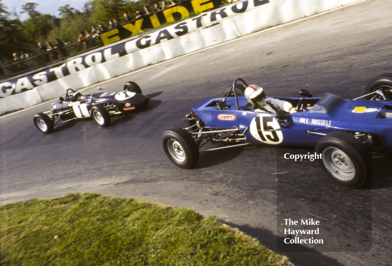 Bill Russell, Alexis Mk 18, and Andrew Chatburn, March 718, Formula Ford, Mallory Park, May, 1971