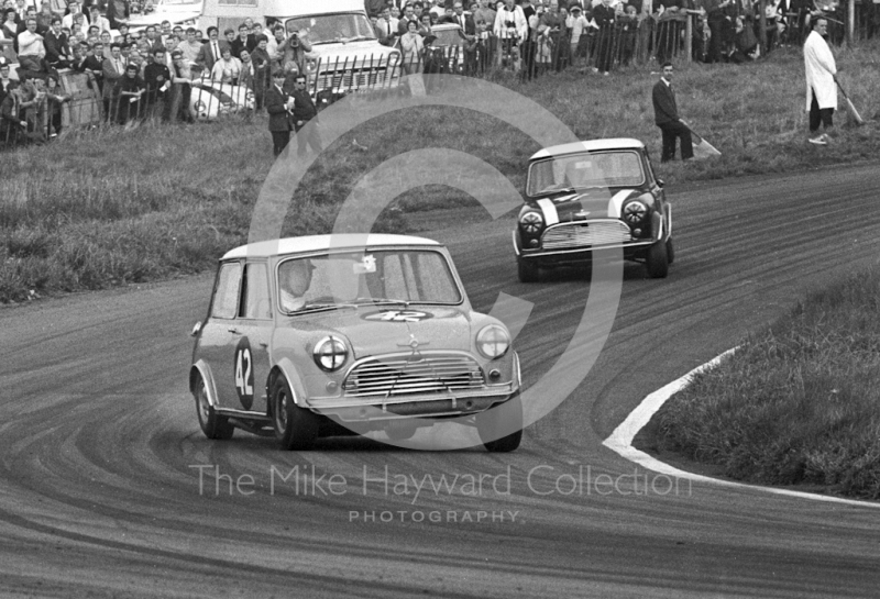 Gordon Spice, Mini Cooper S and John Handley, Cooper Car Company Mini Cooper S, Oulton Park Gold Cup meeting, 1967.