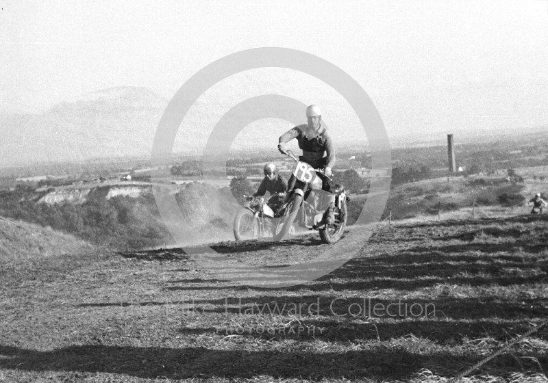 Wrekin backdrop, motorcycle scramble at Spout Farm, Malinslee, Telford, Shropshire between 1962-1965